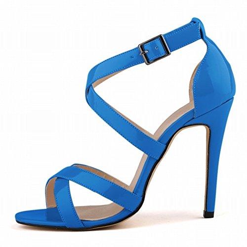 HooH Femmes Sexy Hollow Out Peep Toe Boucle Stiletto Escarpins Sandales Bleu