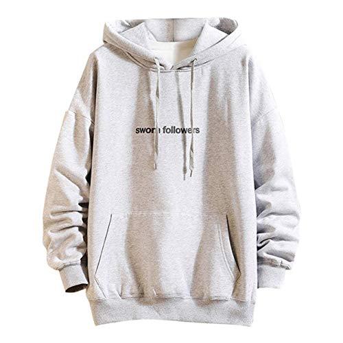 Dhyuen Beiläufige mit Kapuze Art- und Weisebrief-Drucken-Patwork Männer schnüren Sich Oben Hoodie-Lange Hülsen-Sport-Sweatershirt-Oberseiten-Pullover -