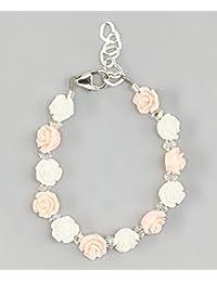 Color rosa y blanco flor bebé niña pulsera
