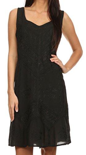 Sakkas 1503 - Sudha Stonewash Stickerei Mid Length Verstellbares Kleid - Schwarz - S/M -