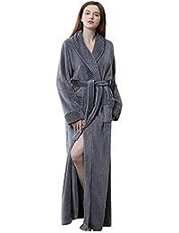 Túnica de Lana Larga para Mujer Lujosa Albornoz de Felpa Full Length Pijamas Sleepwear