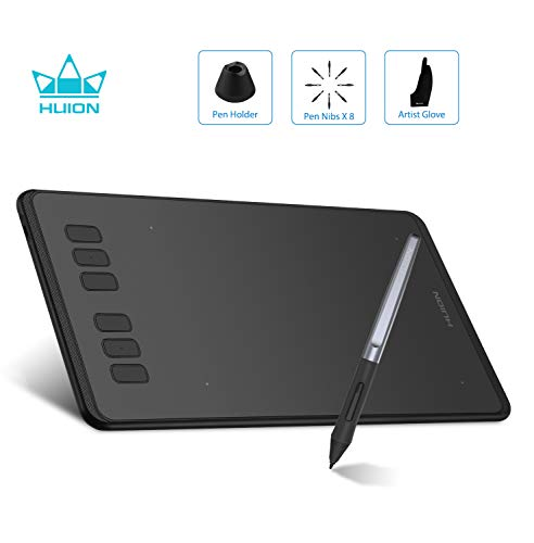 HUION Grafiktablett H640P Inspiroy batterieloses Grafiktablett 8192 Stufen der Stiftdrucksensitivität für Einsteiger in die Malerei Grafiktablett mit Display handschuh Drawing Tablet Digital Tablet