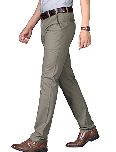 Kuson Herren Designer Chino Stretch Stoffhose Chinohose Regular Fit Casual Hosen mit Stretch Dunkelkahki 33