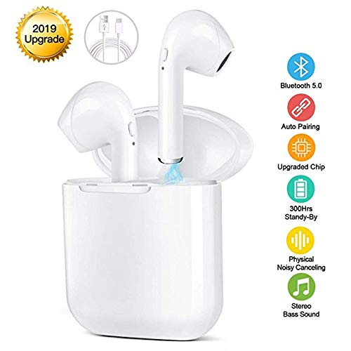 Bluetooth Earbuds Wireless Headphones with Noise Canceling, Hi-Fi Sound Bluetooth Headset with Mini Charging Case 24Hrs Extended Playtime Pop-Up Pairing for iPhone/Samsung/Apple/Airpods Sports