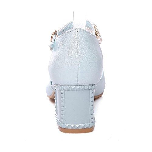 AgooLar Femme Ouverture D'Orteil à Talon Correct Couleur Unie Boucle Sandales Bleu