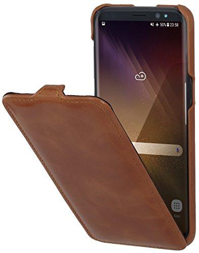 StilGut UltraSlim Case Hülle Leder-Tasche für Samsung Galaxy S8. Dünnes Flip-Case vertikal klappbar aus Echtleder für Das Original Samsung Galaxy S8, Cognac