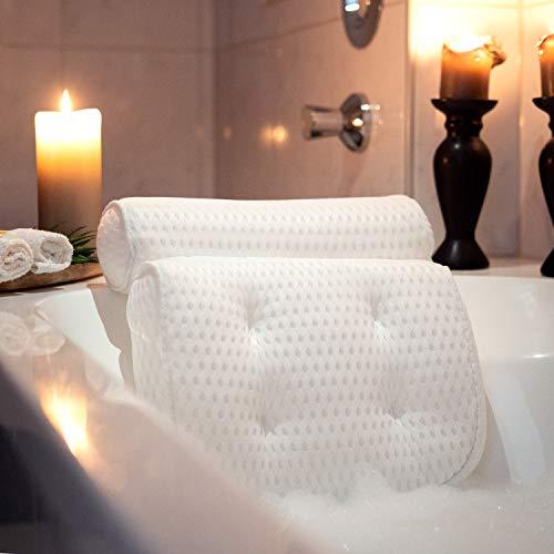 SUMTIX Badewannenkissen-Set Badekissen inkl. Peelinghandschuh & Tragetasche | Nackenkissen/Wannenkissen | Kissen für Badewanne