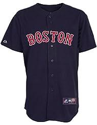 Majestic - Maillot de Baseball MLB Retro Boston Red Sox Majestic Replica Navy