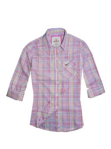 hollister-camicia-casual-rosa-plaid-pink-xs