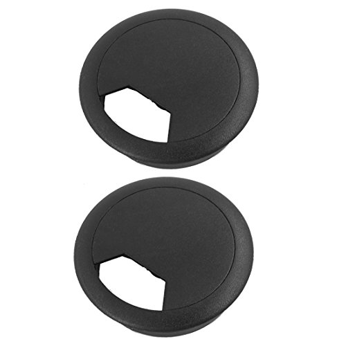 Schwarz Schreibtisch Tülle (2Stück 50mm Durchmesser Schreibtisch Draht Tüllen Kabel Loch Cover schwarz)