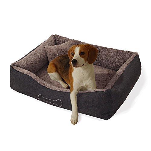 """Homeoutfit24 """"Lucky"""" mittlerer Hundekorb waschbar, hygienisch und rutschfest, Hundebett mit Kissen und kuscheligem Plüsch in Grau, Größe M"""