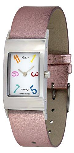 Moog Paris Dome Classy Montre Femme avec Cadran Blanc, Bracelet Rose Interchangeable en Cuir Véritable - M41621-006