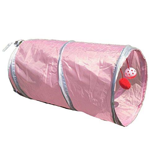 Homyl Katzentunnel Katzenspielzeug Klappbar 2-Wege Haustier Rohr Kleintier Tunnel mit Wackeliger Bälle für Hamster Meerschweinchen Kaninchen Kitten - Rosa