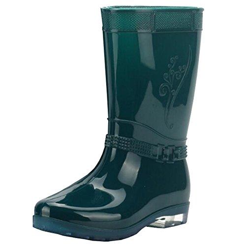 Juleya Frauen Regen Stiefel Damen-Beleg auf Gummistiefel Gummi Gummistiefel Grün