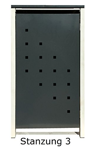 BBT@ | Hochwertige Mülltonnenbox für 4 Tonnen je 240 Liter mit Klappdeckel in Grau / Aus stabilem pulver-beschichtetem Metall / Stanzung 3 / In verschiedenen Farben sowie mit unterschiedlichen Blech-Stanzungen erhältlich / Mülltonnenverkleidung Müllboxen Müllcontainer - 6