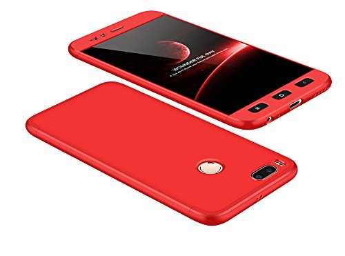 2ndSpring Xiaomi Mi A1 Funda, Funda Xiaomi Mi 5X 360 Grados Integral para Ambas Caras + Cristal Templado, Luxury 3 in 1 PC Hard Skin Carcasa Case Cover para Xiaomi Mi A1 / Mi 5X Rojo