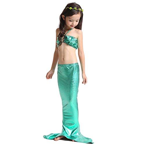 D'amelie Kinder Mädchen Meerjungfrau Schwanz Mermaid Kostüm 3tlg. Badeanzug Bikini Set, Gr. 110 (Puffy Shirt Kostüm)