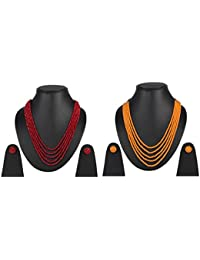 Beunew Five Layer Opaque Beads Stone Party Wear Necklace With Earrings For Women & Girls Combo Pack Of 2 Multicolor