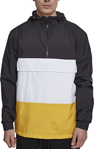 Urban Classics Herren Windbreaker Color Block Pull-Over Jacket, leichte Streetwear Schlupfjacke, Überziehjacke für Frühjahr und Herbst - Farbe black/chrome yellow/white, Größe L -
