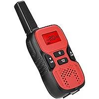 VBESTLIFE 2 Piezas de Walkie Talkie Bidireccional Recargable con LCD Pantalla Radio Interfono Exterior Vox y Linterna Incorporado para Niños Regalo de Los Niños(Rojo)