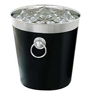 Premier Housewares Enamel Champagne Bucket with Stainless Steel Rim/Ring Handles, Black by Premier Housewares