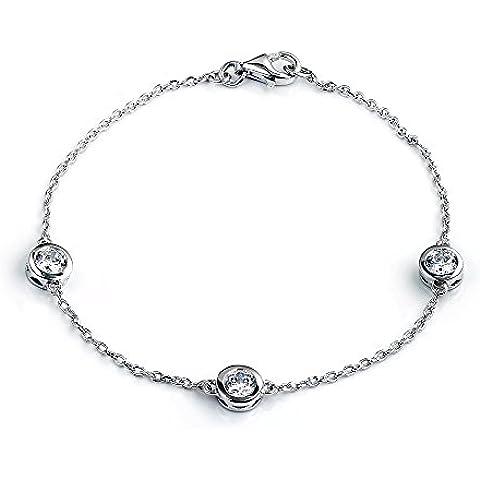 Dormith® Plata de ley 925 ronda pulseras 1,41 quilate AAA circonio cúbico para las mujeres moda joyas pulsera de plata