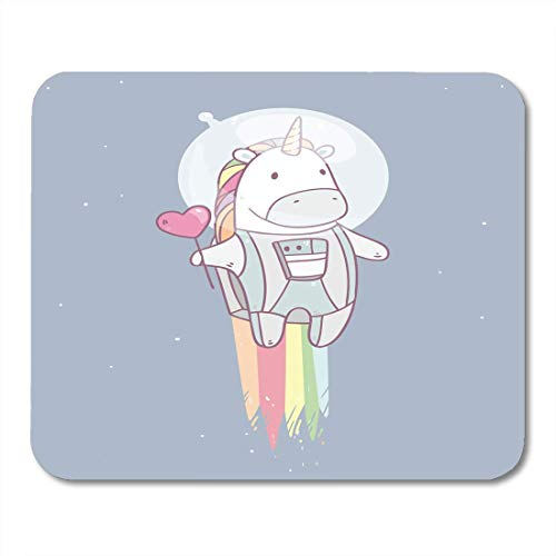 Raum Einhorn Kostüm - Computer Matte,Raum-Einhorn-Geschmackvoller Roter Herz-Form-Lutscher Im Astronauten-Kostüm, Das Zu Den Sternen Fliegt Mauspad 25X30Cm