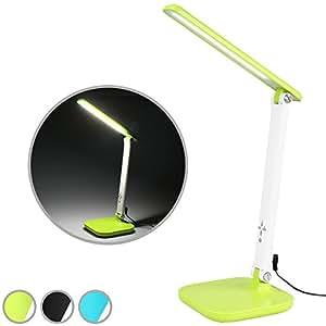 Jago - Lampe de bureau LED 5 W - lampe de table avec lumière réglable - port USB de recharge - Vert