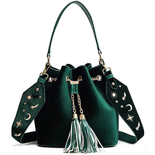 Willsego borse a tracolla ricamate con cinghie larghe borse a tracolla a tracolla con doppio nappe in velluto oro d'inverno, nero-taglia unica (colore : verde, dimensione : taglia unica)