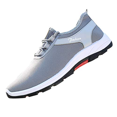 BASACA Herren Sneaker Junge Laufschuhe Mesh Atmungsaktiv Rutschfeste Sommerschuh Mode Sportschuhe Freizeit Schuhe 2019 (42 EU, Weiß)