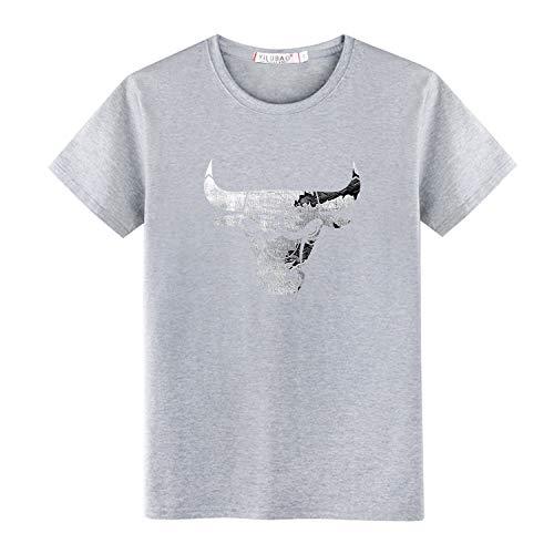 lsweia T-Shirt à Manches Courtes pour Hommes en Coton, col Rond, décontracté, Jeune, K931, Gris, 5XL