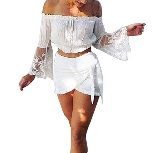 Vertvie damen Sommer reizvolles Chiffonbluse Schulterfreies Top kurz Shirt Bauchfreies Oberteil Spitzen Splicing Aufflackern-Hülsen Trägerlos Bluse Weiß