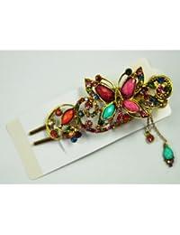 Gleader Broche Clip de Pelo Estilo Antiguo Diseno de Mariposa Flores Cristal - Multicolores