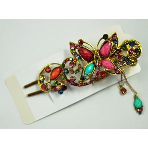 Gleader Fermacapelli clip capelli farfalla carina con strass - colorato