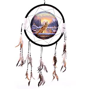 Colour Dream Catcher Large Howling Wolf With Cub.