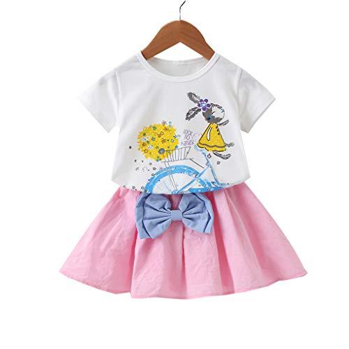 Floridivy 2ST Kind-Mädchen-T-Shirt Rock-Satz-Karikatur-Kaninchen-Häschen-T-Stück Spitze mit Bogen-Rock-Kleidung stellt Outfit