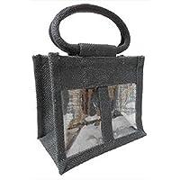 The Natural Look 2 Glas Jute-Tasche mit Sichtfenster, Trennwand & Baumwolle kabelgebunden Griffe schwarz preisvergleich bei billige-tabletten.eu