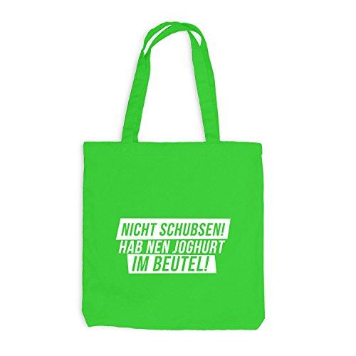 Jutebeutel - Nicht Schubsen! Hab Nen Joghurt Im Beutel! - Fun Style Hellgrün