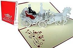 Idea Regalo - LIN Pop Up Biglietti di Matrimonio Inviti, matrimonio, 3d auguri matrimonio, nozze biglietto, Coppia di Sposi in der carrozza