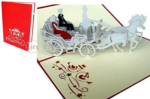 LIN-POP UP Karten Hochzeitskarten, Hochzeitseinladungen, 3D Karten Grußkarten Hochzeit, Hochzeitsglückwunsch, Brautpaar in der Kutsche