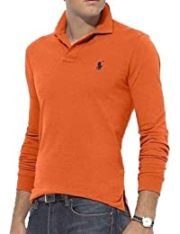 Polo Ralph Lauren Men's L/S Mesh Polo T-shirt Small Pony Classic Fit Bali Orange IMPORTED FROM USA