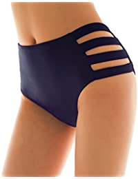 SHEKINI Mujer Negro Braguita Pantalones de Cintura Alta Bikini Braga Ropa Interior Natación Talla Grande S-XXXXL