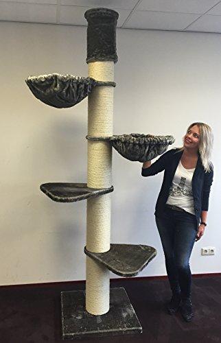 RHRQuality Kratzbaum große katze XXL Maine Coon Tower Grau Taupe Deckenhöhe 245-265cm mit 20cmØ Stämme stabil. Katzenkratzbaum speziell für schwere Katzen. Deckenhoch