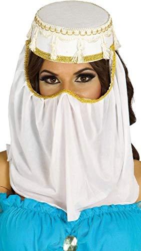 Fancy Me Damen weiß Arabisch Arabischer Kopfschmuck Kopf Gesicht Hülle Genie Bauchtänzerin Kostüm Kleid Outfit Hut Zubehör - Weiß, Weiß, One size (Genie Kostüm Zubehör)