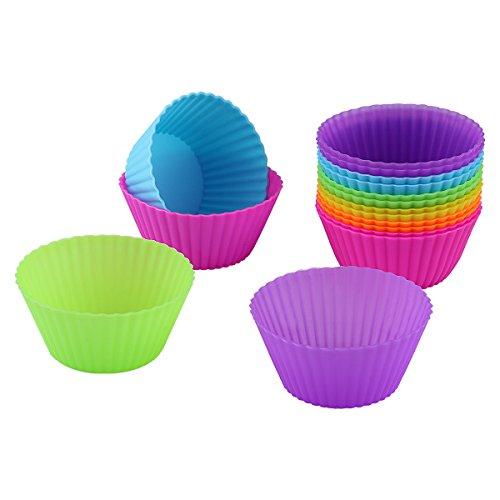 Belmalia 12x Moldes para Magdalenas, Silicona, antiadherente, Cupcakes, Brownies, Tartas, Pudding, Muffin Forma Multicolor