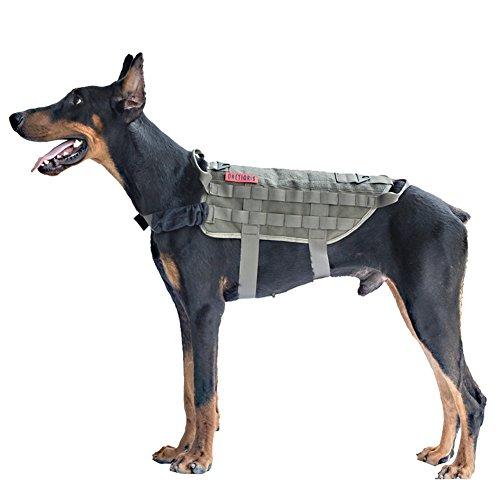 OneTigris Taktische MOLLE Weste Geschirr Hundegeschirr Hundeausbildung (Ranger Grün, L/49cm)