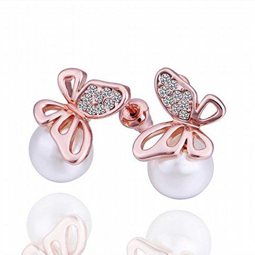 MoMo Kleine und Exquisite Umweltschutz Platinschmuck Schmetterling Ohrringe/Edelstahl / Anti-allergiker/Silber Blinkend/Diamanten / Perle Ohrringe,B