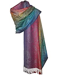 21871f86390b itendance Etole écharpe Pashmina et Soie - Motifs Arabesque Cachemire Arc  en Ciel Multicolore