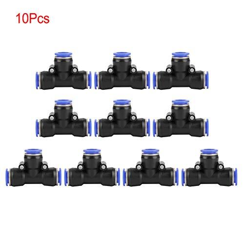 Wytino Accesorios rápidos, 10 Piezas OD 12 mm Manguera de Aire neumática Conector de unión en T de 3 vías Conector de Empuje de Aire Accesorios rápidos