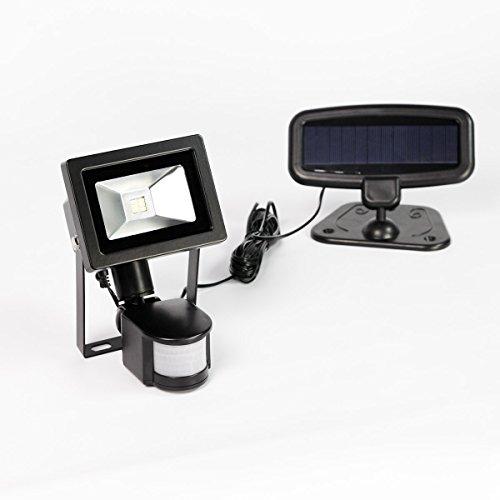 Projecteur Solaire - Compact & Puissant - Extérieur Noir 6 LED - Détecteur de Mouvements 8m (Pile Rechargeable Incluse)